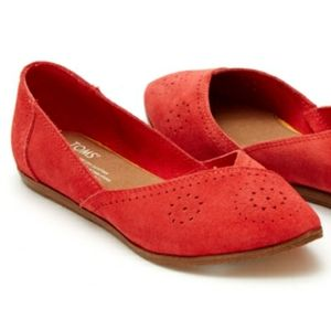 TOMS Suede Leather Jutti Flats Red Size 7